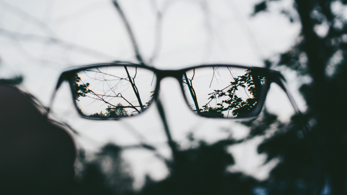 looking through a pair of glasses