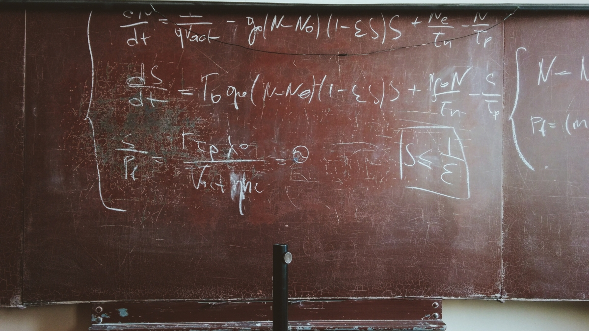 Math equations on old blackboard