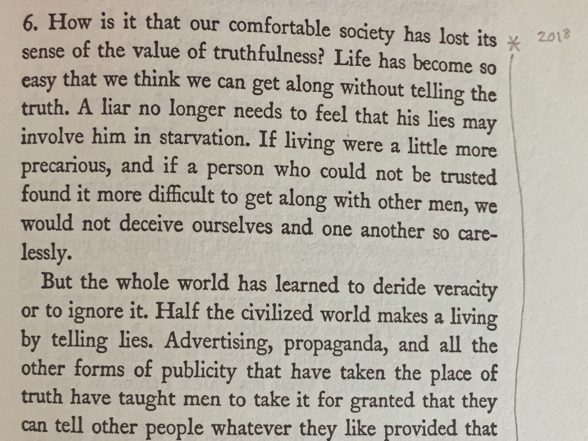 Passage from No Man is an Island by Thomas Merton about telling lies